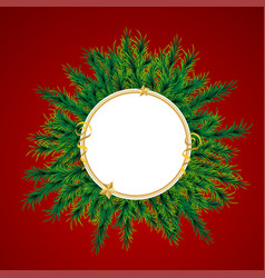 christmas wreath xmas tree ball decoration card vector image