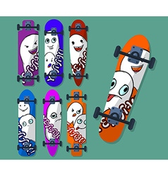 Collection of variegated skateboard with monsters vector