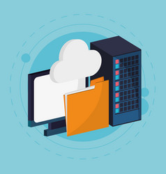 Data center cloud computing folder vector