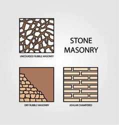 Diagrams of stone masonry vector