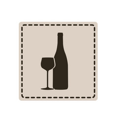 Emblem wine bottle with glass icon vector