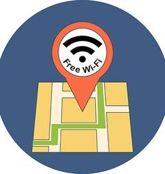 Finding free wi-fi zone concept flat design icon vector