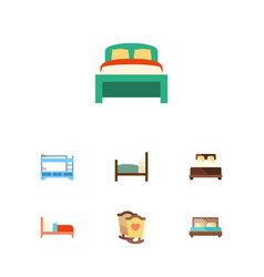 flat bed set of bed hostel bearings and other vector image vector image