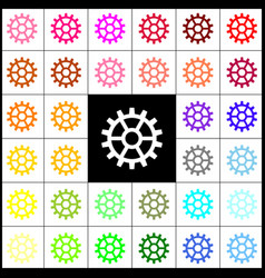 Gear sign felt-pen 33 colorful icons at vector