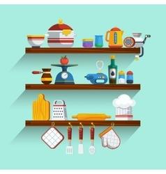 Kitchen shelves set vector