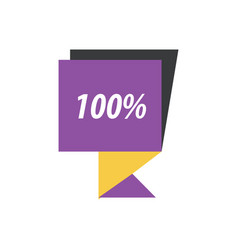 label hundred percent purple yellow black vector image vector image
