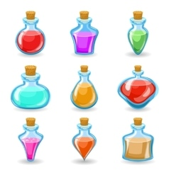 magic beverages potions poisons icons set isolated vector image