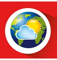 Map with icon cloud sun weather graphic vector