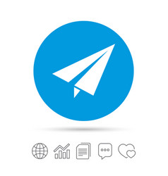 paper plane sign airplane symbol travel icon vector image