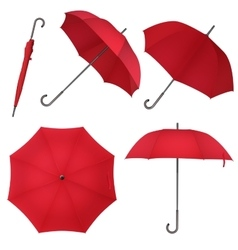 Red blank classic round rain Umbrella Photo vector image