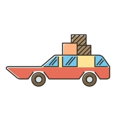 Red car with luggage and boxes icon flat style vector
