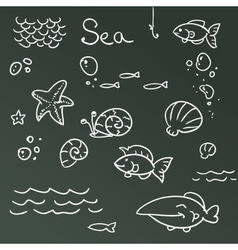 Sea icon set vector image
