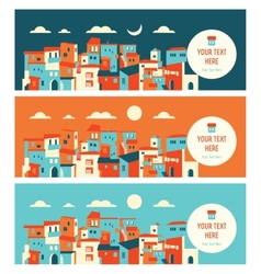 seaside city in day and night landscape vector image