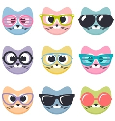 Set of cartoon cats with sunglasses vector