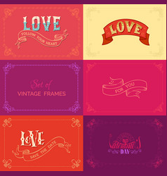 set of vintage frames on coloured backgrounds vector image vector image