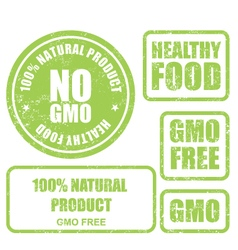 Shabby GMO free stamps stickers and labels vector image