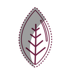 Sticker line leaf of plant icon vector