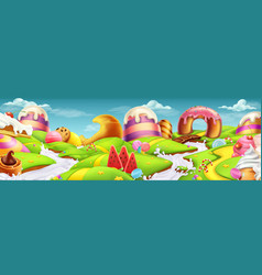 Sweet landscape panorama 3d background vector