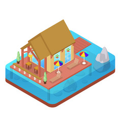 Tropical bungalow with jet ski beach isometric vector