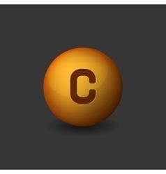 Vitamin c orange glossy sphere icon on dark vector