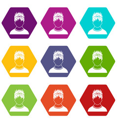 word stress in the head of man icon set color vector image