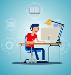 Young adult man working on idea vector image vector image