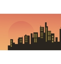 Beautiful city scenery at morning silhouettes vector