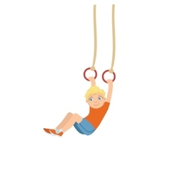 Boy doing gymnastics on two rings hanging on ropes vector