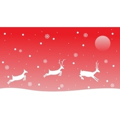 Christmas landscape reindeer on red backgrounds vector