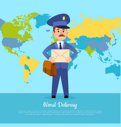 World delivery banner with postman mailman in vector