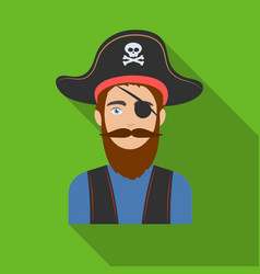 Pirate with eye patch icon in flat style isolated vector
