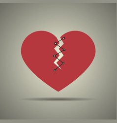 Broken and stitched heart icon vector