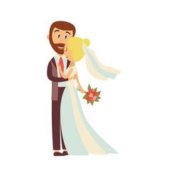 Groom and bride hug each other isolated vector