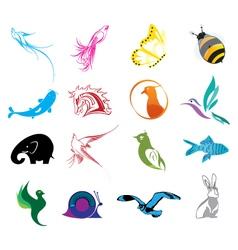 Animal logo icons set vector image
