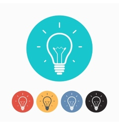Set of simple colorful light bulb icons vector image