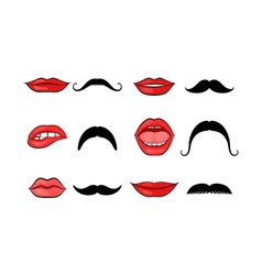 Lady lips and gentleman mustaches vector