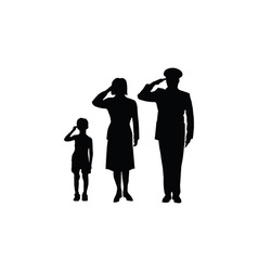 Soldier family salute vector
