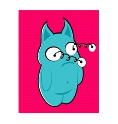 Blue monster with bulging eyes vector