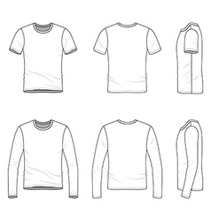 Simple outline drawing of a mens blank t-shirt and vector