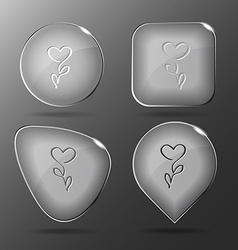 Flower-heart glass buttons vector