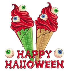 Bloody halloween ice cream with eyes vector