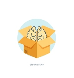 Flat carton box with brains brain drain vector