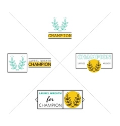 Laurel wreath success icon emblems labels set vector