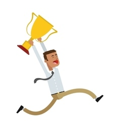 Celebrating businessman holding cup trophy icon vector