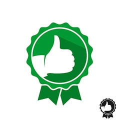 Like hand with stamp symbol logo green color style vector