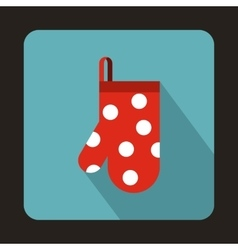 Red kitchen glove with white dots icon flat style vector