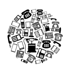 various black phone symbols and icons set in vector image