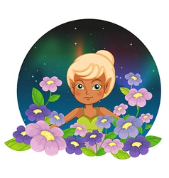 A girl at the garden with fresh flowers vector image vector image