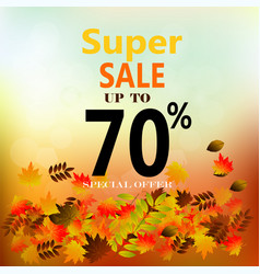 Autumn sale banner with colorful fall leaves vector