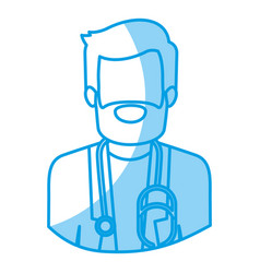 Blue silhouette with half body of faceless bearded vector